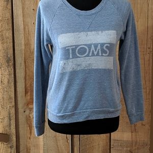 TOMS crew sweatshirt blue pockets xsmall
